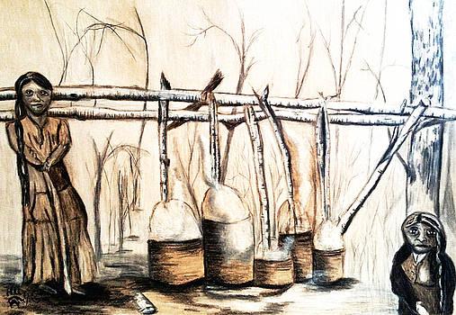 Indians Making Maple Sugar. Cass Lake. 1905  by Ayasha Loya