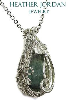Indicolite Tourmaline and Tarnish-Resistant Sterling Silver Wire-Wrapped Pendant w Herkimer Diamond by Heather Jordan