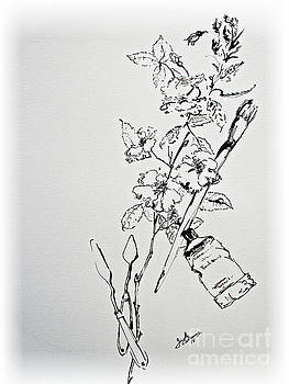 Ginette Callaway - Ink Line Art Still Life Flowers and Objects