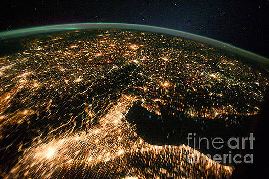 R Muirhead Art - International Space Station night time image europe