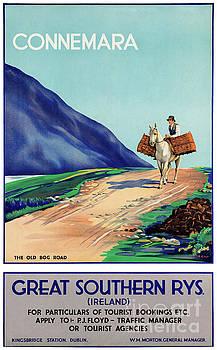 Ireland Connemara Restored Vintage Travel Poster by Carsten Reisinger