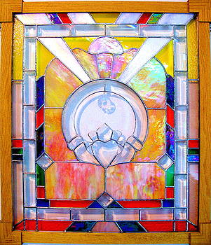Irish Claddagh Original Stained Glass Panel by Cheryl Brumfield Knox