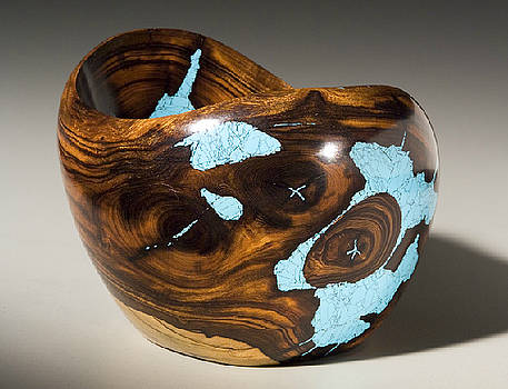 Ironwood bowl w/turquoise by Larry Favorite