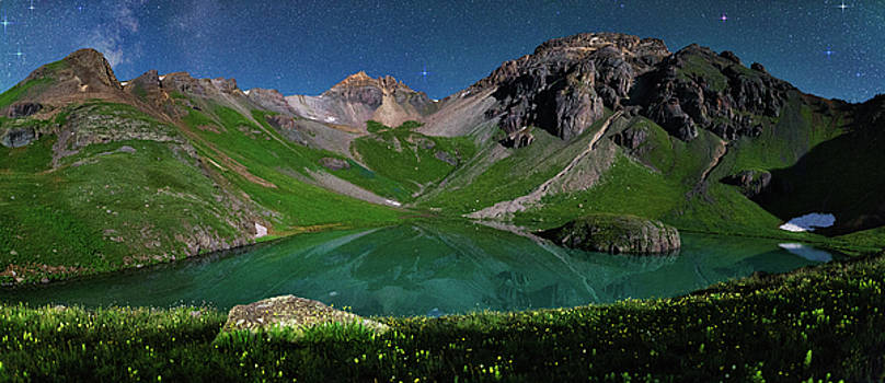 Island Lake Nightscape Panorama by Mike Berenson