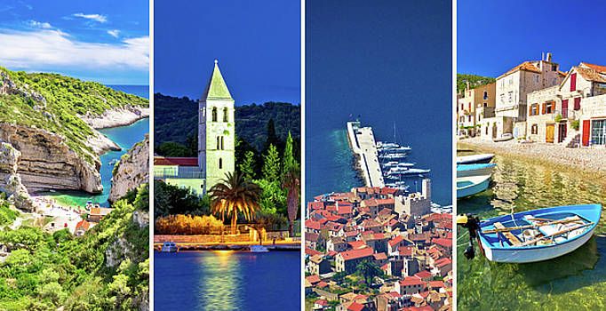 Island of Vis landmarks and nature collage by Dalibor Brlek