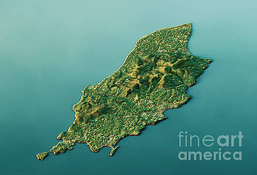 Isle Of Man 3D Landscape View South-North Natural Color by Frank Ramspott
