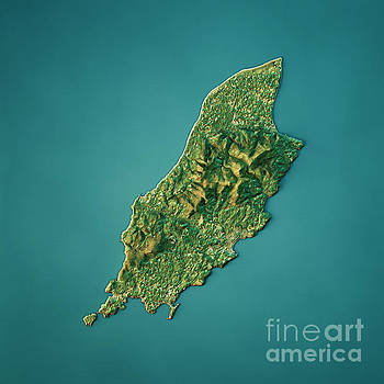 Isle Of Man Topographic Map Natural Color Top View by Frank Ramspott