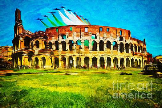 Italian aerobatics team over the Colosseum by Stefano Senise