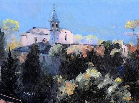Italian Church on a Hillside by Donna Tuten