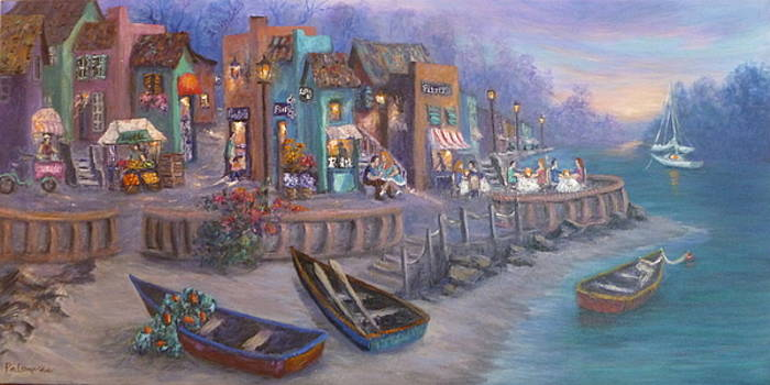 Italy Tuscan Decor Painting Seascape Village By the Sea by Amber Palomares