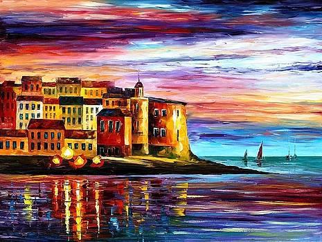 Italy-Liguria - PALETTE KNIFE Oil Painting On Canvas By Leonid Afremov by Leonid Afremov