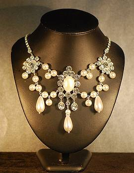 Ivory Pearl and Crystal Festoon Necklace by Janine Antulov