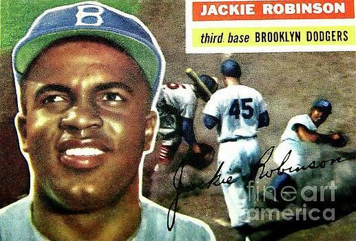 Jackie Robinson-Brooklyn Dodger by Arnie Goldstein