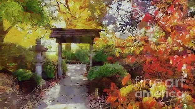 Japanese Garden in Autumn by Putterhug Studio