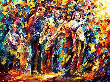 Jazz Band - PALETTE KNIFE Oil Painting On Canvas By Leonid Afremov by Leonid Afremov