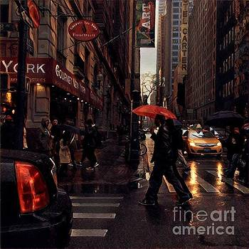 Jazz in Red and Yellow - New York in the Rain by Miriam Danar