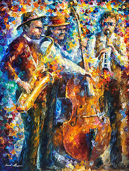 Jazz It Up - PALETTE KNIFE Oil Painting On Canvas By Leonid Afremov by Leonid Afremov