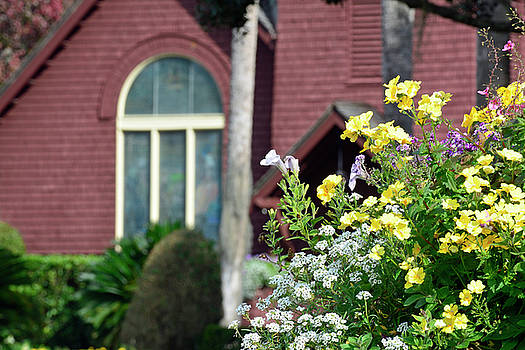 Jekyll Island Chapel and Flowers by Bruce Gourley