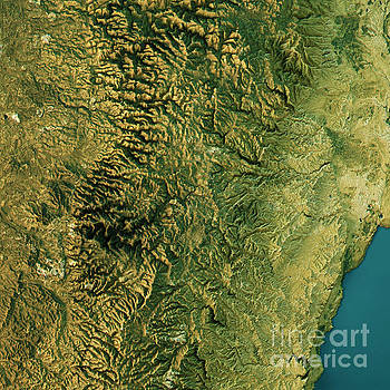 Jerusalem Topographic Map Natural Color Top View by Frank Ramspott