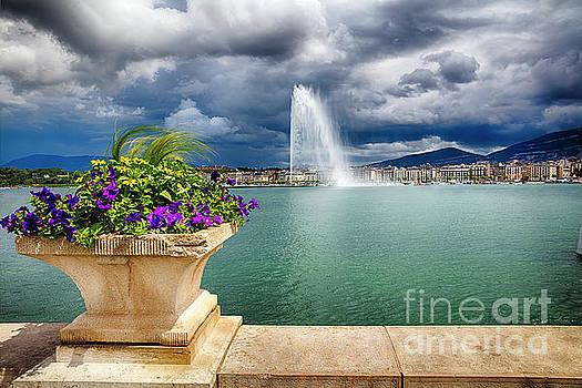 Jet d'Eau Fountain in Lake Geneva by George Oze