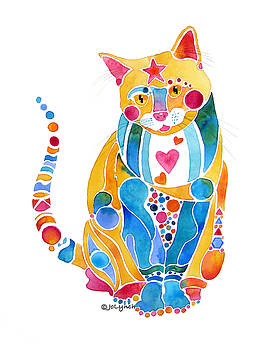 Jewel Colors Cat with Hearts N Stars by Jo Lynch