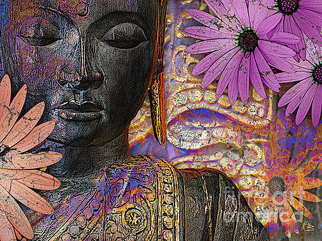 Jewels of Wisdom - Buddha Floral Artwork by Christopher Beikmann