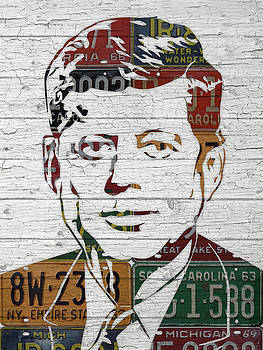 JFK Portrait Made Using Vintage License Plates from the 1960s by Design Turnpike