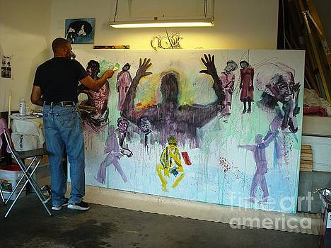 Jim Crow and Strange Fruit in progress by Charles M Williams
