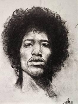 Jimi Hendrix charcoal  by Annamaria Shkurti