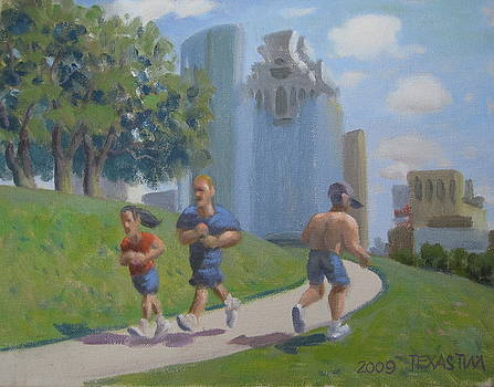 Joggers by the Skate Park by Texas Tim Webb