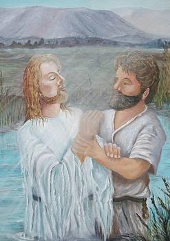 John Baptizing Jesus by Janna Columbus