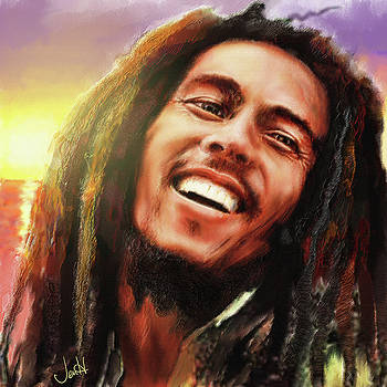 Joyful Marley  Bob Marley Portrait by Jennifer Hickey