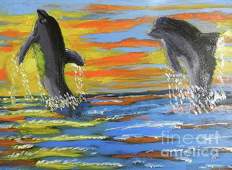 Jumping Dolphins by Pamela Meredith