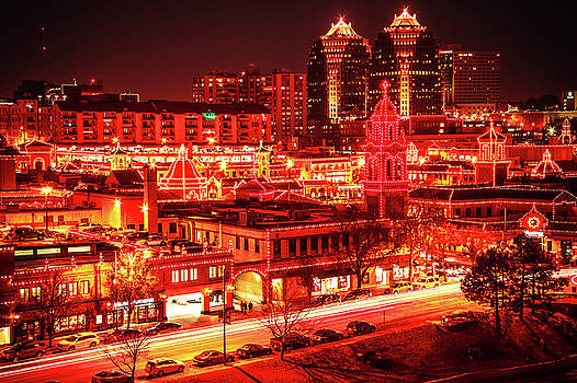Kansas City Plaza Night Lights by Steven Bateson
