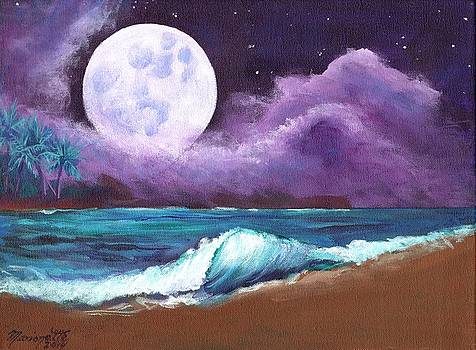 Kauai Moonrise at the Beach by Marionette Taboniar