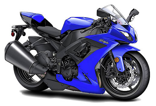 Kawasaki Ninja Blue Motorcycle by Maddmax