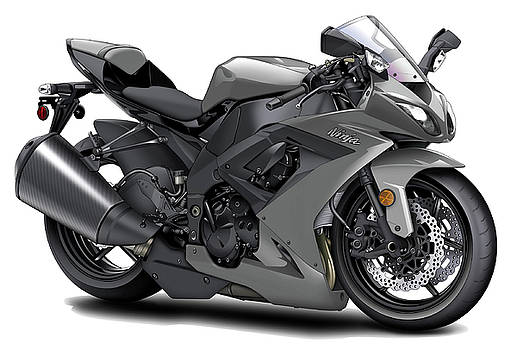 Kawasaki Ninja Grey Motorcycle by Maddmax