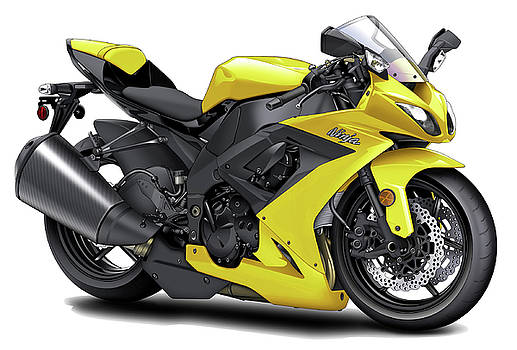 Kawasaki Ninja Yellow Motorcycle by Maddmax