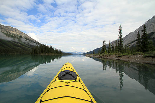 Kayak on Maligne Lake by Kathy Stanczak