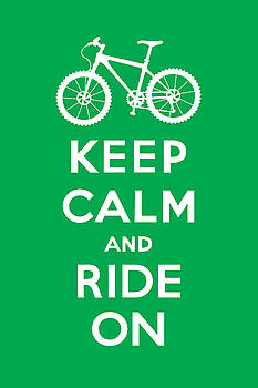 Keep Calm and Ride On - Mountain Bike - green by Andi Bird