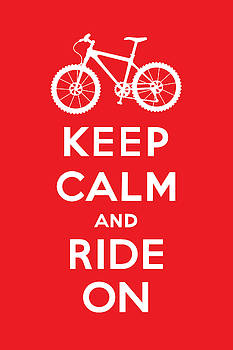 Keep Calm and Ride On - Mountain Bike - red by Andi Bird