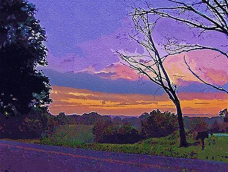 Kentucky Sunset Goache Art by Skyler Tipton