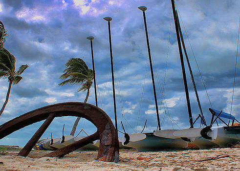 Key West - Sailboats on Beach 2 by Ron Grafe