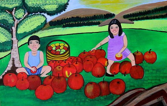 Kids Playing and Picking Apples by Lorna Maza