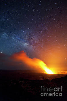 Kilauea Volcano at Night by Charmian Vistaunet