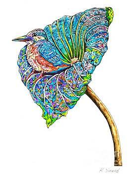 Kingfisher on Flower by Karen Sirard
