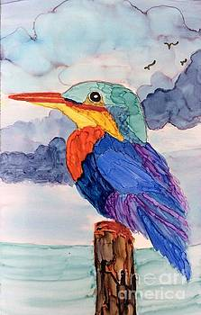 Kingfisher on post by Suzanne Canner