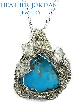 Kingman Turquoise and Sterling Silver Wire-Wrapped Pendant with Herkimer Diamonds - TURQPSS1 by Heather Jordan