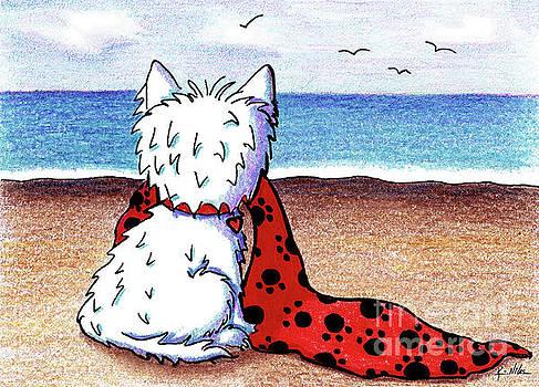 KiniArt Beach Blanket Westie by Kim Niles