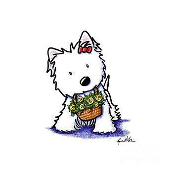 KiniArt Flower Basket Westie by Kim Niles